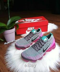 6.5 Air Féminin Nike Flyknit Vapormax 3 Multicolore Rose Vert En Cours D'exécution Ci7577 001