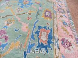 7'8 X 10 Vert Rose Noué À La Main Turque Colorée Oushak Oriental Tapis G7832