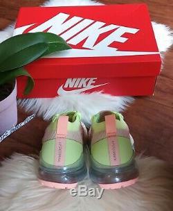 7 Nike Air Vapormax Flyknit Pour Femmes 3 Sucre Vert Rose En Cours D'exécution Aj6910 700