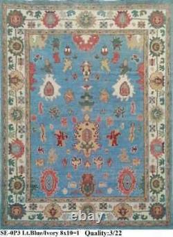 8x10 Oushak Handknotted Wool Rug Couleur Rose, Bleu, Ivoire, Vert, Rouge, Tan1/2' Pile