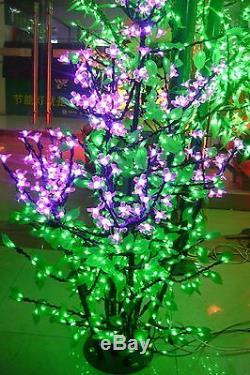 960pcs Led De Led Arbre De Noël Lumière Rose Fleur Fleur De Cerisier + Feuille Verte