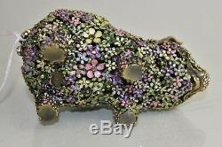 995 $ Nouveau Jay Strongwater Susana Boxwood Pig Figurine Flore Vert Rose