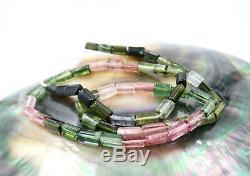 Aaaaa Gorgeous Gemmy Rose Verts Aqua Tourmaline Perles 14.75 Brace 50.55cts