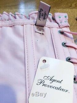Agent Provocateur Rare Dot Rose Et Vert Gwendoline Corset Taille Petite A / B Bnwt