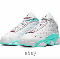 Air Jordan 13 Retro Soar Vert Blanc Rose Unisex Enfants 439669 100 Taille 11.5c