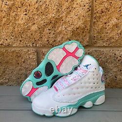 Air Jordan 13 Retro White Share Rose Vert (gs) Basketball Sneakers 439358-100