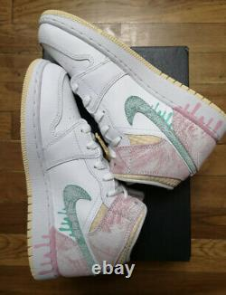 Air Jordan 1 Drip De Peinture Moyenne (gs) Rose/blanc/vert Taille 7y/8.5w