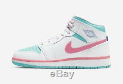 Air Jordan 1 MID Blanc / Numérique Rose / Vert Aurora 555112-102 Taille 6.5y Nouveau