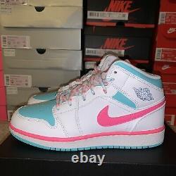 Air Jordan 1 MID Solaire Vert Rose Numérique Blanc 555112-102 Taille 6.5y / Femmes 8