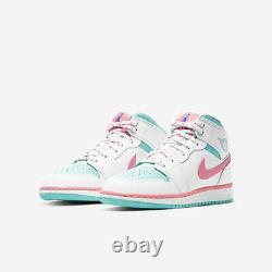 Air Jordan 1 MID South Beach Gs Taille 6y-7y 555112-102 Rose Blanc Soar Green