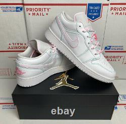 Air Jordan 1 Rétro Low Gs Taille 5y (femmes 6.5) Blanc Vert Sarcelle Rose 554723 101