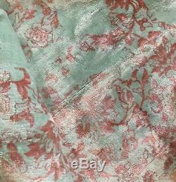 Anthropologie Tapis Muted Aqua Vert Et Rose Tilda 8x10 Bord Gland Msrp $ 1398 Nouveau