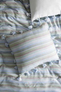 Anthropologie Woven Stripe Queen King Duvet New Blue Green Pink & Tassels