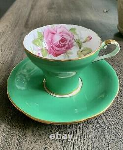 Antique Aynsley Pink Cabbage Rose Pink On Jade Green Cup & Soucoupe
