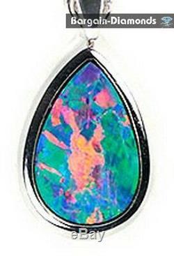 Arlequin Rare Pendentif En Or 18 Carats Vert Bleu Rose Saumon Australien