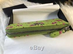 Authentic Nwt - Étui Porte-clés En Cuir Prada Saffiano - Melon Vert / Rose