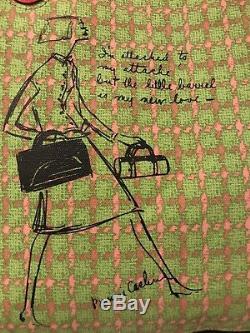Authentique Entraîneur Des Territoires Du Nord-ouest Avec Coquelicot Bonnie Cashin Plaid Sac Fourre-tout 22482 Rose Vert