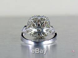 Bague Avec Diamants Verts Et Roses De Couleur Naturelle, 3,57 Ct. Or Blanc 18 Carats Certifié Gia