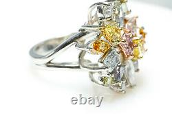 Bague Diamant Multicolore 4.50ct Natural Fancy Intense Pink Blue Green Argyle Gia