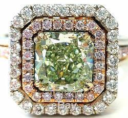Bague Diamant Naturel Fantaisie Vert- Couleur Rose 3 Ct Certifié Gia Radiant Cut Vs2
