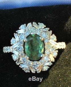 Bague En Flocon De Neige Avec Diamant De Alexandrite Verte Et Rose Certifiée Gia De 3,68 Ct En Or 18k
