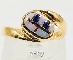 Bague En Or Jaune 14 Carats Avec Ovale Bleu Vert Opale Rose & Lapis Offset Inlay, Taille 5.5