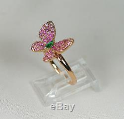 Bague Papillon Rose Rose De Saphir Rose Or Et Diamant 18k