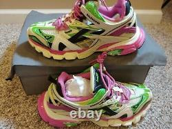 Balenciaga Men's Track 2 Runners Green/white/pink, Taille 11 (44 Eur)