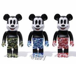 Bearbrick Bape (r) Mickey 1000 Vert Bleu Rose De Jouet De Set Medicom