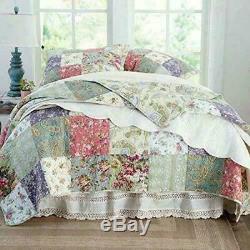 Beau Pays Patchwork Cozy Cottage Fleur Rose Rose Vert Bleu Set Quilt