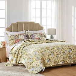 Beautiful Cozy Cottage King Quilt Set Chic Pays Pink Rose Green Blue Shabby