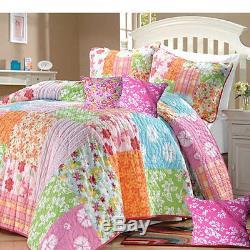 Beautiful Flower Floral Bright Pink Green Orange Stripe Blue Rose Quilt Set