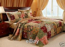 Belle Antique Country Vintage Rose Rouge Vert Floral Patchwork Quilt Twin Set