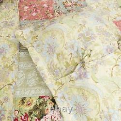 Belle Cozy Cottage Chic Pays Rose Rose Vert Bleu Shabby Floral Quilt Set