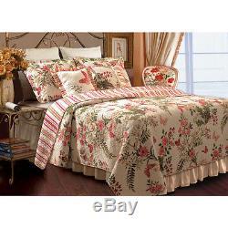 Belle Cozy Cottage Rose Floral Vintage Rose Vert Rouge Set Ivoire Blanc Quilt