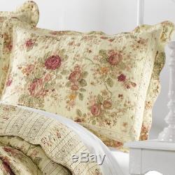 Belle Vintage Chic Cottage Or Jaune D'ivoire Rouge Rose Vert Set Rose Quilt