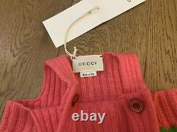 Bn Gucci Pink & Green Knitted Wool Heart Romper Dungarees Taille 9-12 Mois