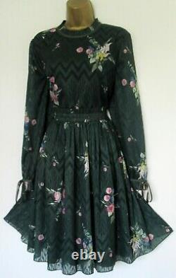Bnwt Ted Baker Robe Tb 5 (uk 16) Sofiya Vert Rose Blanc Or Fil Métallique