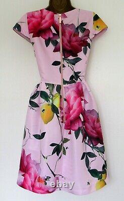 Bnwt Ted Baker Skater Robe Tb 4 (uk 14) Tillea Rose Vert Jaune Floral Doublé