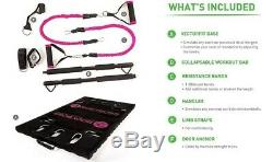 Bodyboss 2.0 Workout Portable Home Gym Full Package + Bandes De Résistance Rose