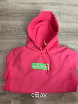 Boîte Suprême Logo Sweat À Capuche Vert Sur Fw17 Rose X-large