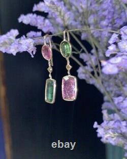 Boucles D'oreilles 14k Gold Vivian Rose Vert Tourmaline Juxtaposées Diamant Jaune Canarien Boucles D'oreilles