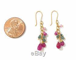Boucles D'oreilles Originales Authentiques En Or 18 Carats Rubis Briolette Vert Diamant Saphir Rose