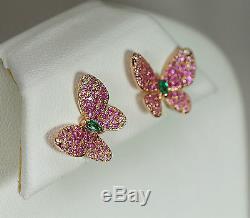 Boucles D'oreilles Papillot Rose Sapphire Rose Or 18k Rose Diamond Green Emerald Ruby