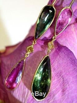Boucles D'oreilles Pendantes En Or Jaune 14k Avec Diamants Et Tourmaline Verte Magnifique