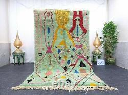 Boujaad Marocain Rug Fait À La Main 5'x8'4 Berber Résumé Faded Vert Rose Rug En Laine