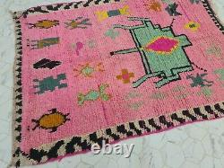 Boujaad Marocain Vintage Rug Fait Main 4'3x9'3 Berber Résumé Rug Vert Rose