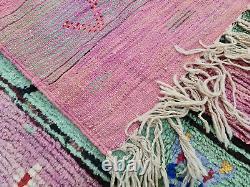 Boujad Marque Artisanale Marocaine Vintage Rug 6'5x10 Résumé Rug En Laine De Berbère Vert Rose