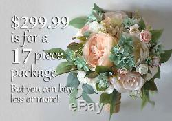 Bouquet De Mariage De Fleurs De Soie Nuptiale De Demoiselle D'honneur Pêche Blush Vert Sauge Menthe Rose