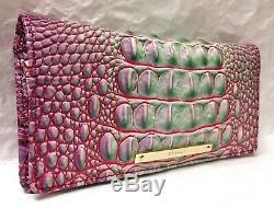 Brahmane Melbourne Ady Slim Bifold Wallet Clutch Julep Rose Violet Vert Nwt Rare